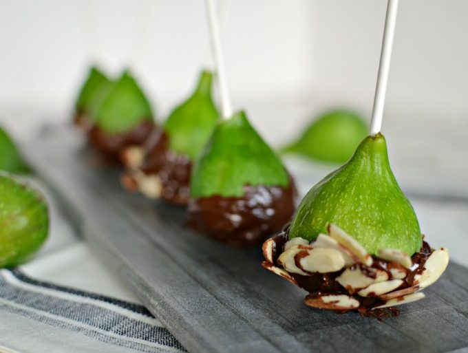 Chocolate Dipped Figs with Sliced Almonds